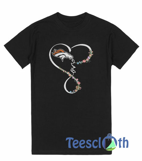 Love Denver Broncos Flowers T Shirt For Men Women And Youth